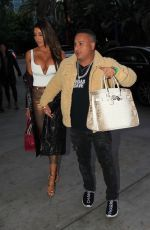 HOLLY SONDERS and Vegas Dave Arrives at Lakers Game in Los Angeles 12/25/2019