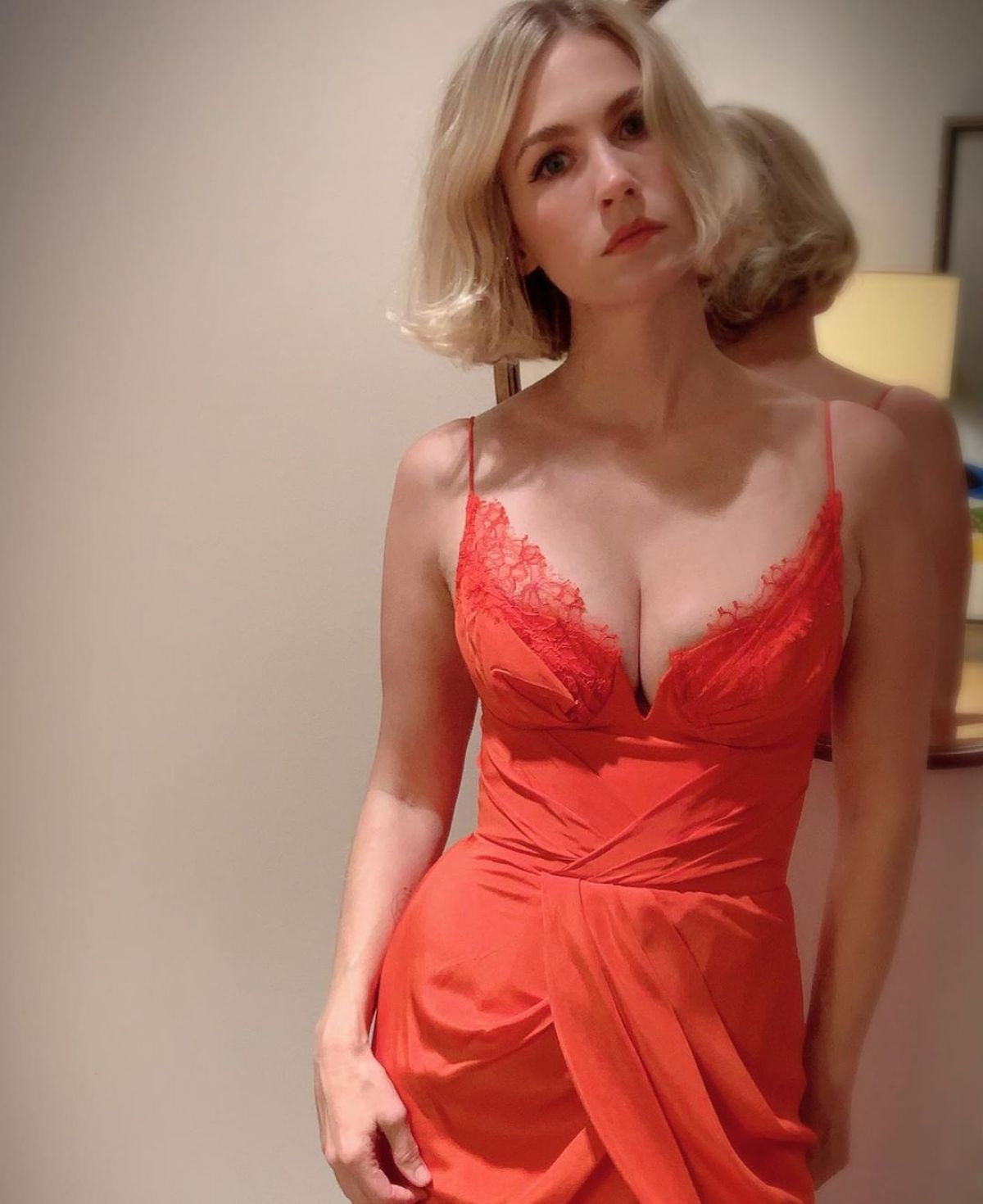 JANUARY JONES in an Orange Dress – Instagram Photos 12/10 ... January Jones Instagram