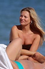 KATE MOSS in Swimsuit on the Beach in Miami 12/03/2019