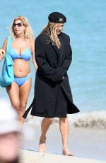 KATE MOSS on the Set of a Photoshoot on the Beach in Miami 12/04/2019