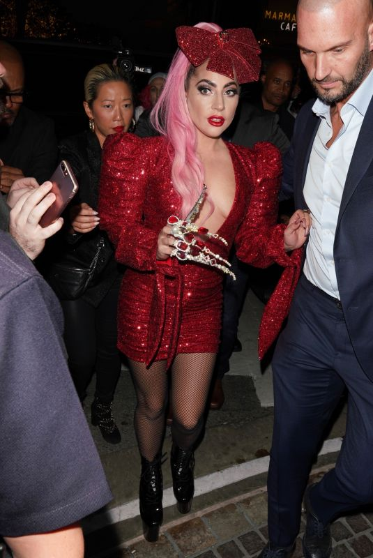 LDY GAGA Arrives at Her Haus Labs Makeup Pop Up Launch at The Grove 12/05/2019