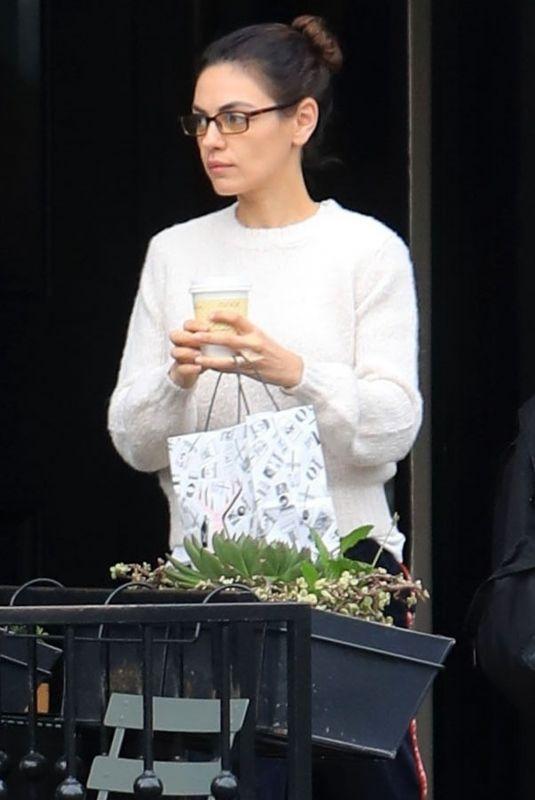 MILA KUNIS Leaves Alfred's Coffee in West Hollywood 12/10/2019