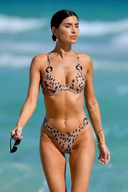 NICOLE WILLIAMS in a Leopard Print Bikini at a Beach in Miami 12/10/2019