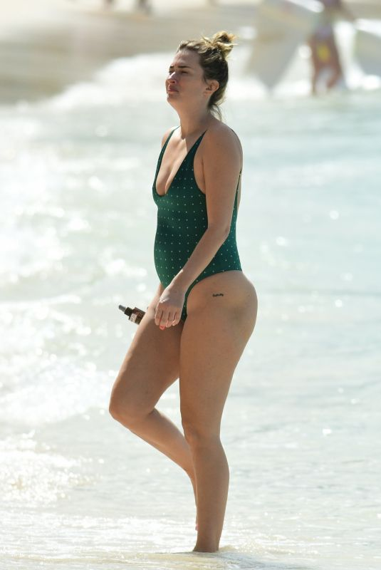 RHEA DURHAM in Swimsuit on the Beach in Barbados 12/28/2019