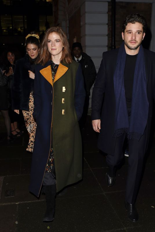 ROSE LESLIE and Kit Harington Leaves Night Out in London 12/10/2019