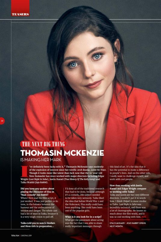 THOMASIN MCKENZIE in Total Film Magazine, Christmas 2019