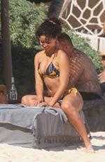 ALISHA WAINWRIGHT in Bikini at a Beach in Tulum 01/25/2020