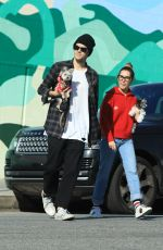 ASHLEY TISDALE and Christopher French Out with Their Dog on Los Angeles 01/18/2020