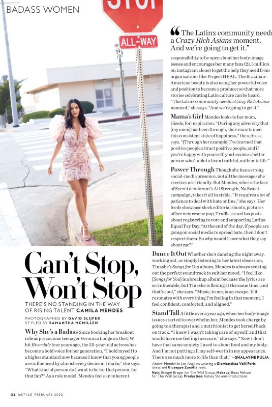 CAMILA MENDES in Instyle Magazine, February 2020