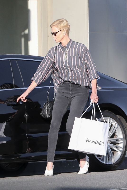 CHARLIZE THERON Out Shopping in Hollywood 01/10/2020