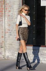 CHARLOTTE MCKINNEY in Shoer Skirt Out in Beverly Hills 01/03/2020