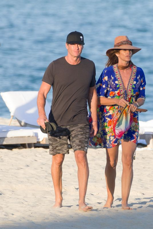 CINDY CRAWFORD and Rande Gerber Out on the Beach in Miami 01/03/2020