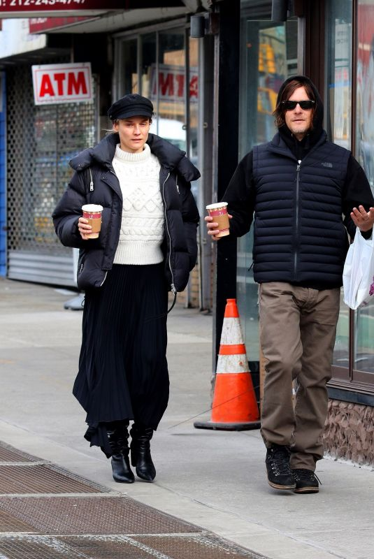 DIAN KRUGER and Norman Reedus Out for Morning Coffee in New York 01/28/2020