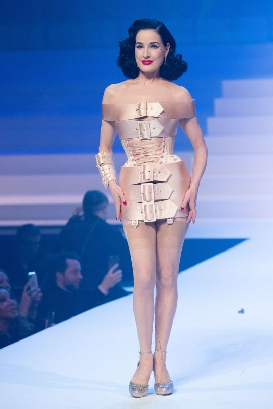 DITA VON TEESE at Jean-Paul Gaultier Haute Couture Show in Paris 01/22/2020