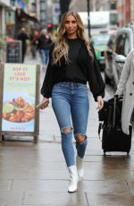 FERNE MCCANN in Ripped Denim Out and About in London 01/30/2020