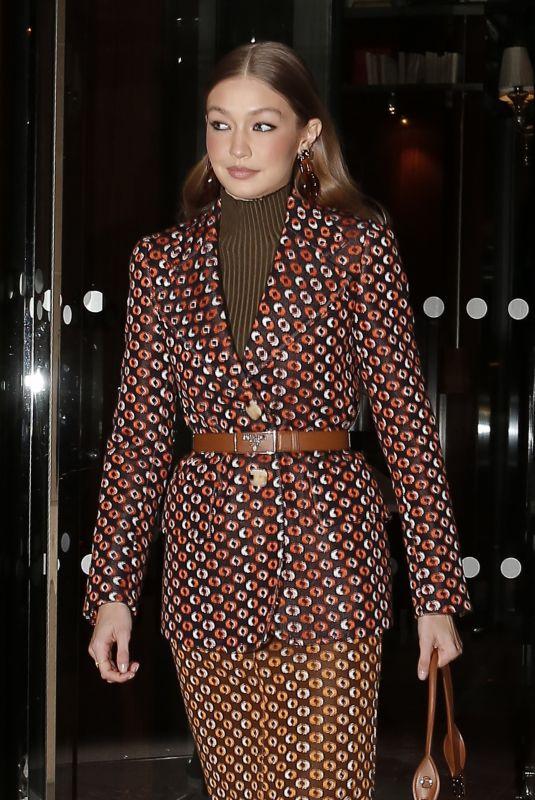 GIGI HADID Heading to Prada Dinner Party at Paris Fashion Week 01/19/2020