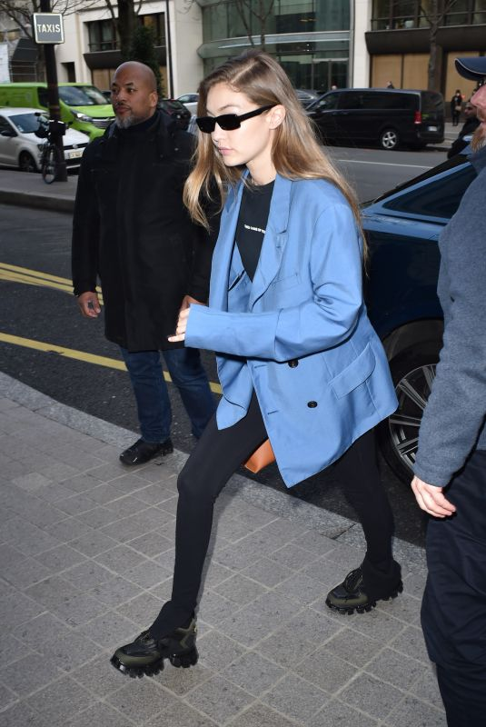 GIGI HADID Out and About in Paris 01/19/2020