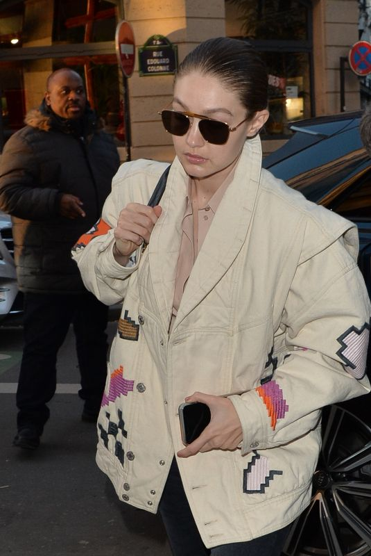 GIGI HADID Out and About in Paris 01/22/2020