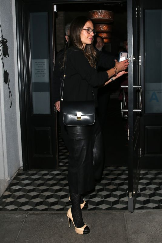 JORDANA BREWSTER in a Leather Skirt at Craig's Restaurant in West Hollywood 01/09/2020