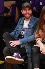 LILY COLLINS and Charlie McDowell at Cleveland Cavaliers vs LA Lakers Game in Los Angeles 01/13/2020