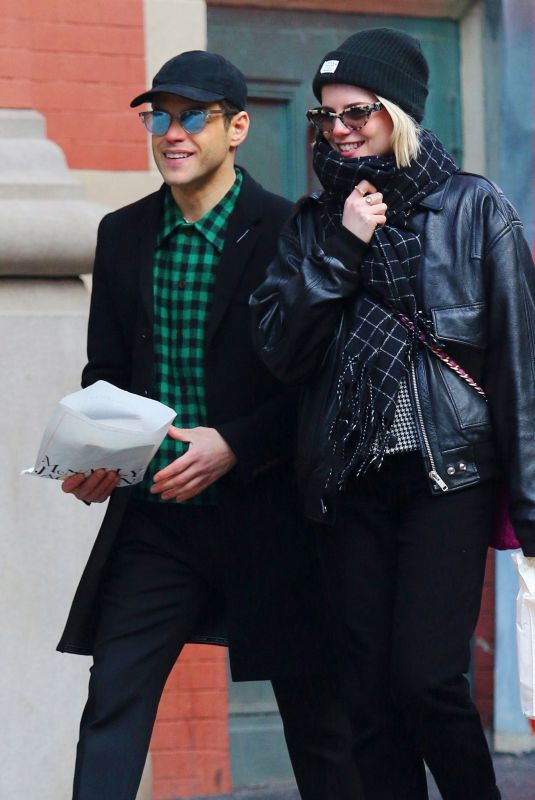LUCY BOYNTON and Rami Malek Out Shopping in New York 01/21/2020