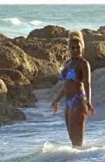 MARY J. BLIGE in Bikini at a Beach in Miami 01/03/2020