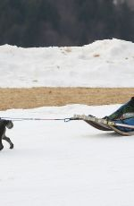 MICHELLE HUNZIKER on the Dog Sled in Sauris 01/25/2020