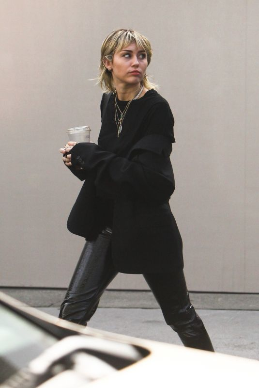MILEY CYRUS Arrives at a Studio in Los Angeles 01/17/2020