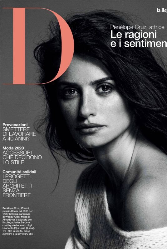 PENELOPE CRUZ in D La Repubblica Magazine, January 2020