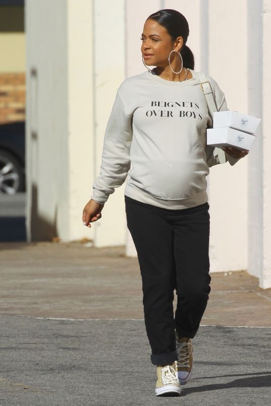 Pregnant CHRISTINA MILIAN Out and About in Hollywood 01/12/2020