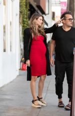 Pregnant RACHEL MCCORD in Red Dress Out in Los Angeles 01/09/2020