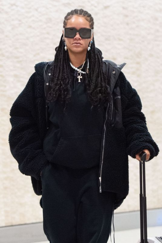 RIHANNA at JFK Airport in New York 01/16/2020