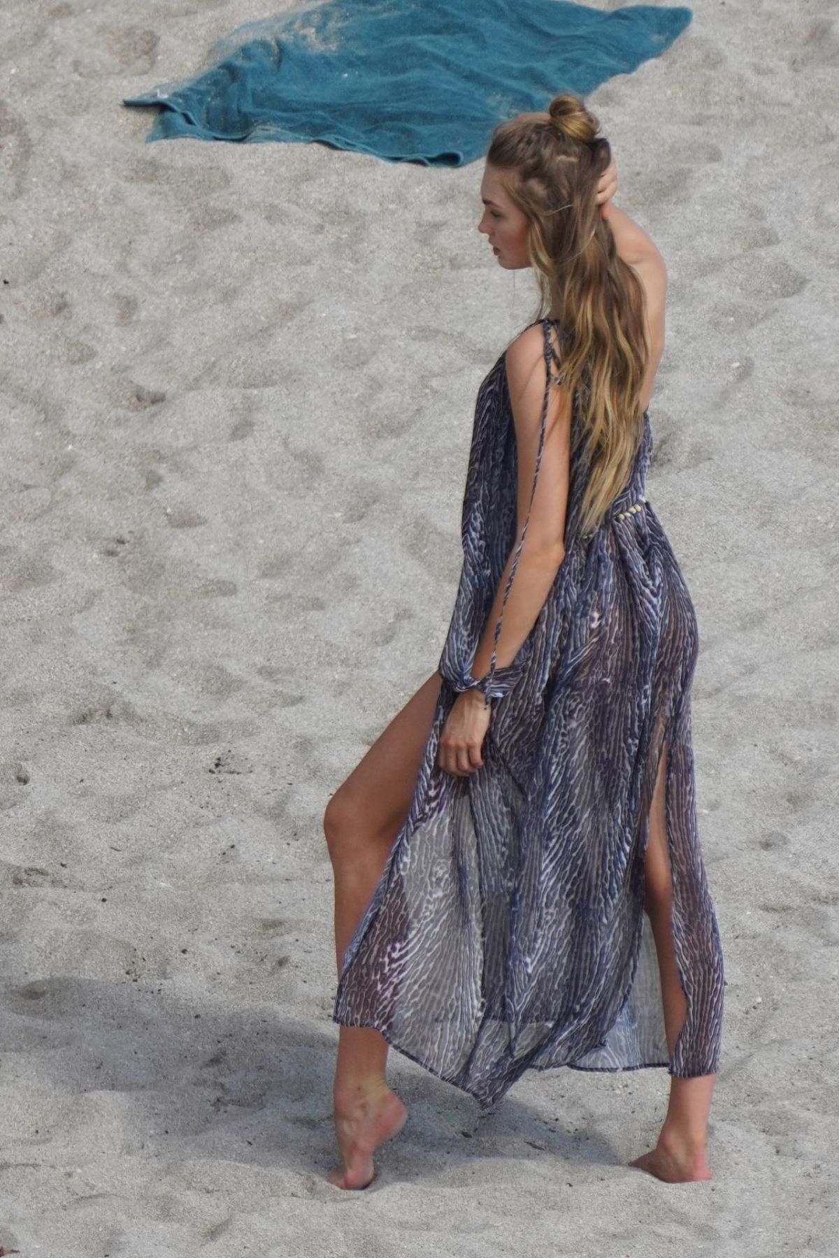 ROMEE STRIJD at a VS Photoshoot on the Beach 01/25/2020