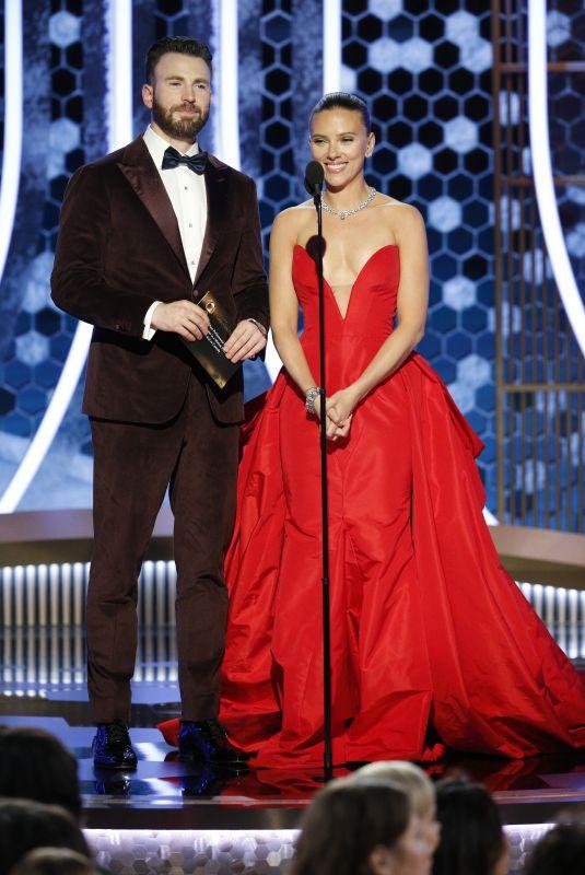 SCARLETT JOHANSSON and Chris Evans on Stage at Golden Globe Awards 01/05/2020