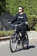 SELENA GOMEZ Riding a Bike Out in Studio City 01/24/2020
