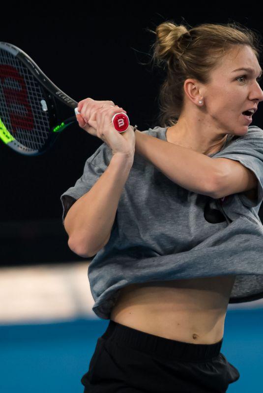SIMONA HALEP Practises at 2020 Australian Open at Melbourne Park 01/19/2020