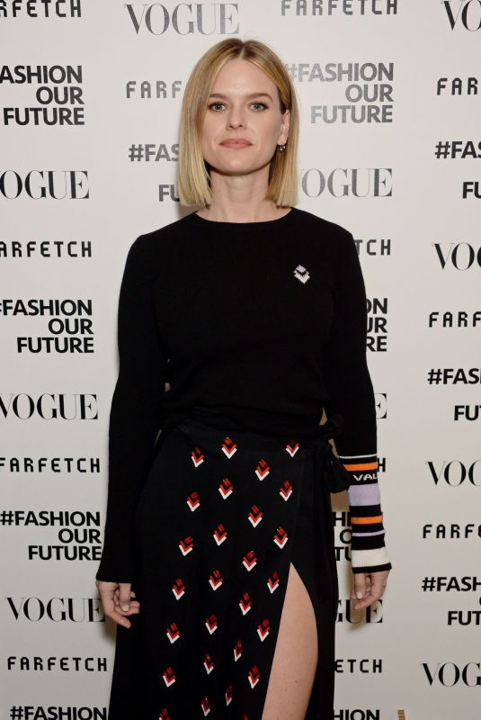 ALICE EVE at Fashion Our Future Launch at London Fashion Week 02/17/2020