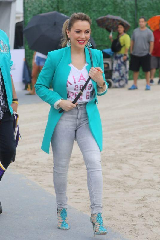 ALYSSA MILANO Arrives at Fanatics Pre-super Bowl Party in Miami 02/01/2020