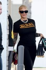 AMBER ROSE Sshows off New Face Tattoo of Her Kids Names Sebastian and Slash in Los Angeles 02/11/2020