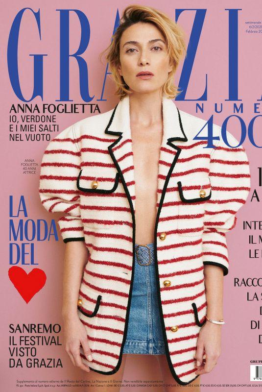 ANNA FOGLIETTA in Grazia Magazine, Italy February 2020