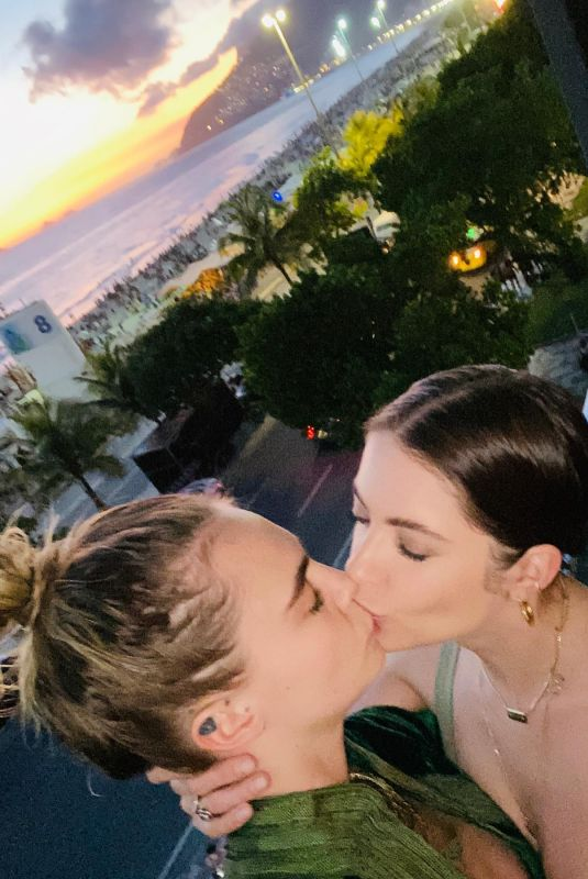 ASHLEY BENSON and CARA DELEVINGNE Share a Kiss - Instagram Photo 02/14/2020
