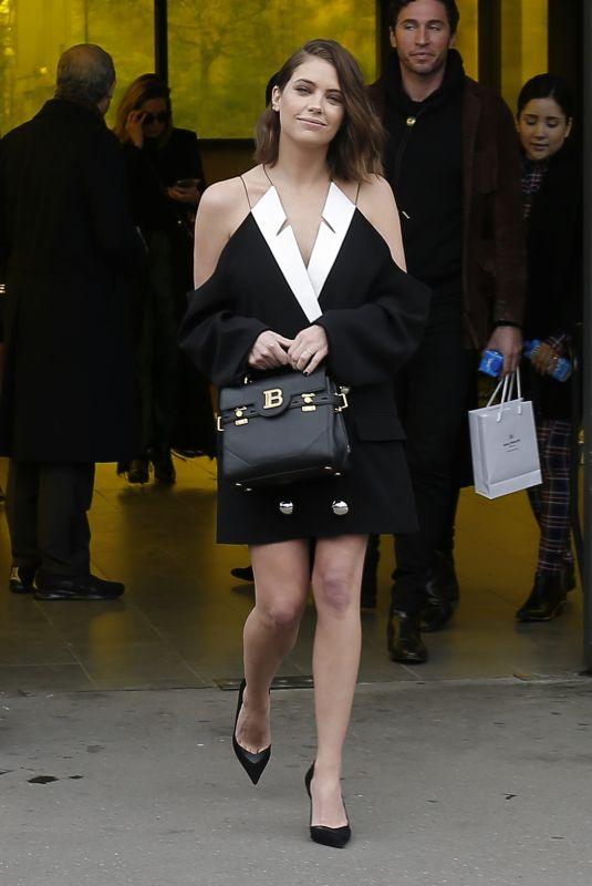 ASHLEY BENSON Leaves Balmain Fashion Show at PFW in Paris 02/28/2020