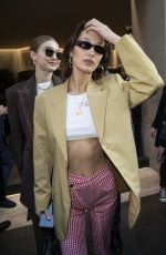 BELLA and GIGI HADID Leaves Their Hotel in Milan 02/22/2020