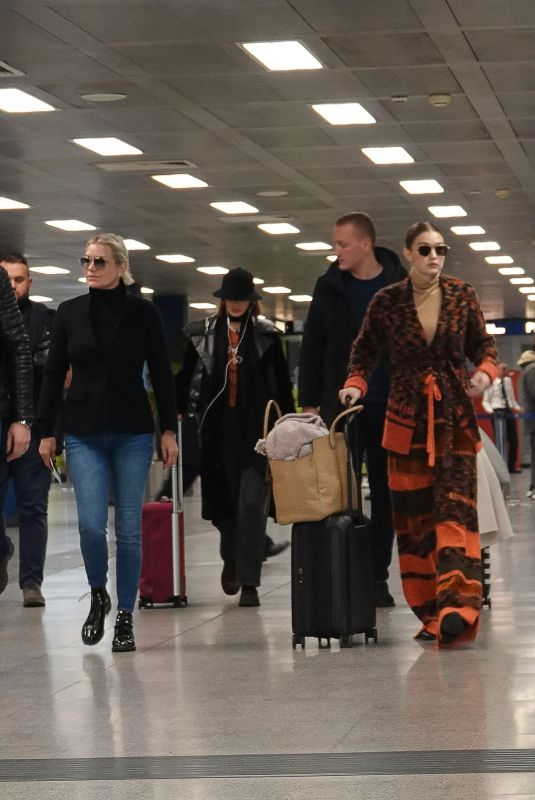 BELLA, GIGI and YOLANDA HADID Leaving Milan after Fashion Week 02/23/2020