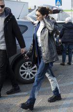 BELLA HADID Arrives at Max Mara Headquarters in Milan 02/19/2020