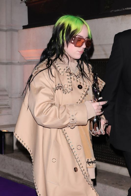 BILLIE EILISH at Brit Awards After-party in London 02/18/2020