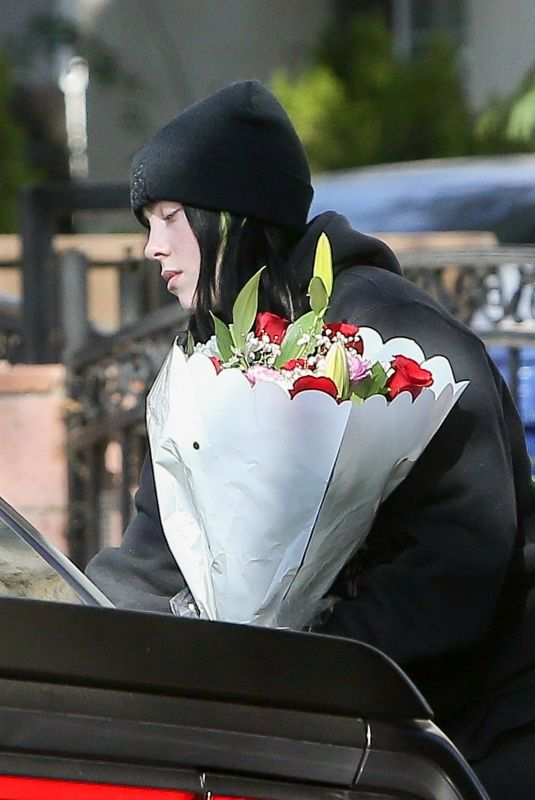 BILLIE EILISH Dropping Off Bouquets of Flowers to Friends in Los Angeles 02/14/2020