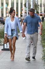 BROOKE BURKE in Denim Shorts at Avra in Beverly Hills 02/26/2020