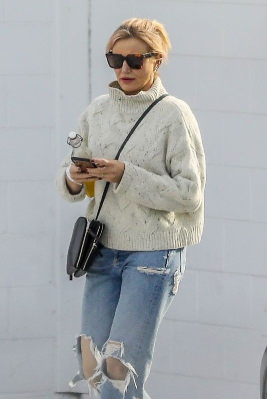 CAMERON DIAZ in Ripped Denim Out in Santa Monica 01/31/2020