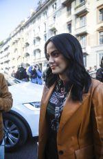 CAMILA MENDES Arrives at Salvatore Ferragamo Show at Milan Fashion Week 02/22/2020